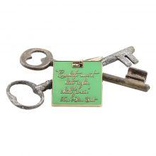 Porte-clés vert devise Charette