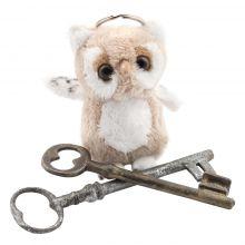 Porte-clés peluche hibou beige
